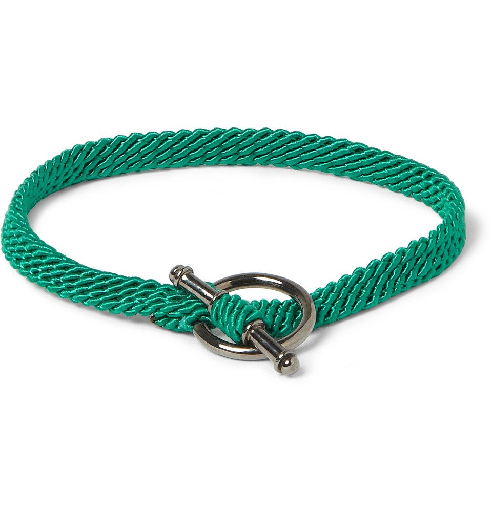 Le Meilleur Yuvi Silver And Woven Cord Bracelet Mr Porter Men Ce Mois Ci