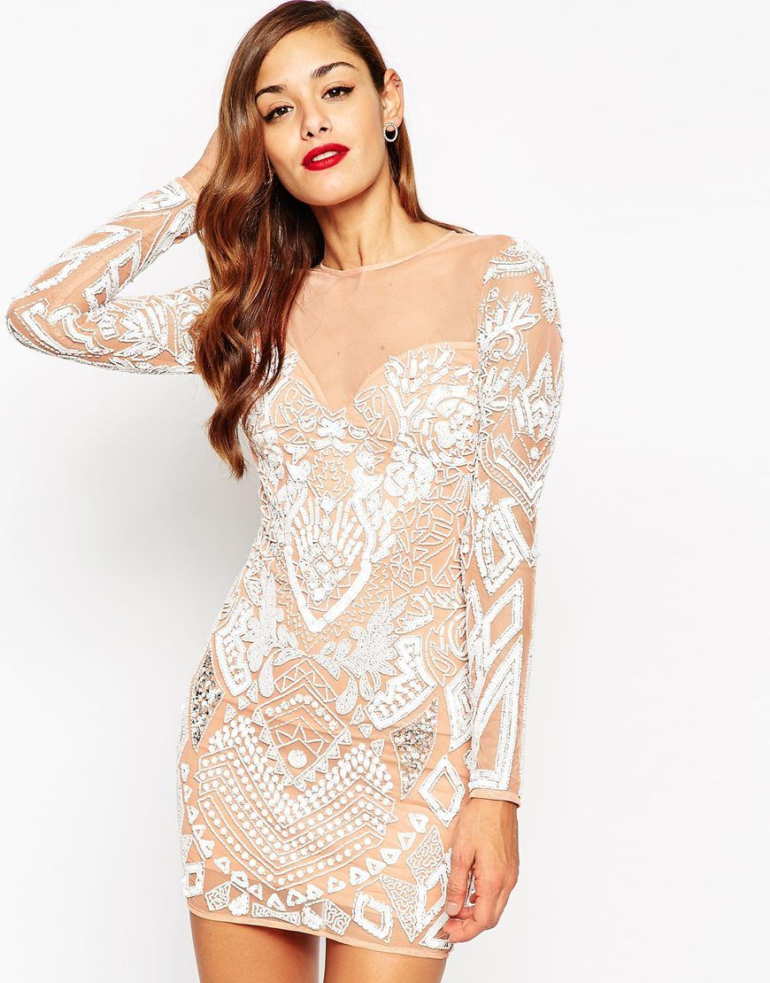 Le Meilleur Asos Red Carpet Ergonomic Embellished Mini Bodycon Dress Ce Mois Ci