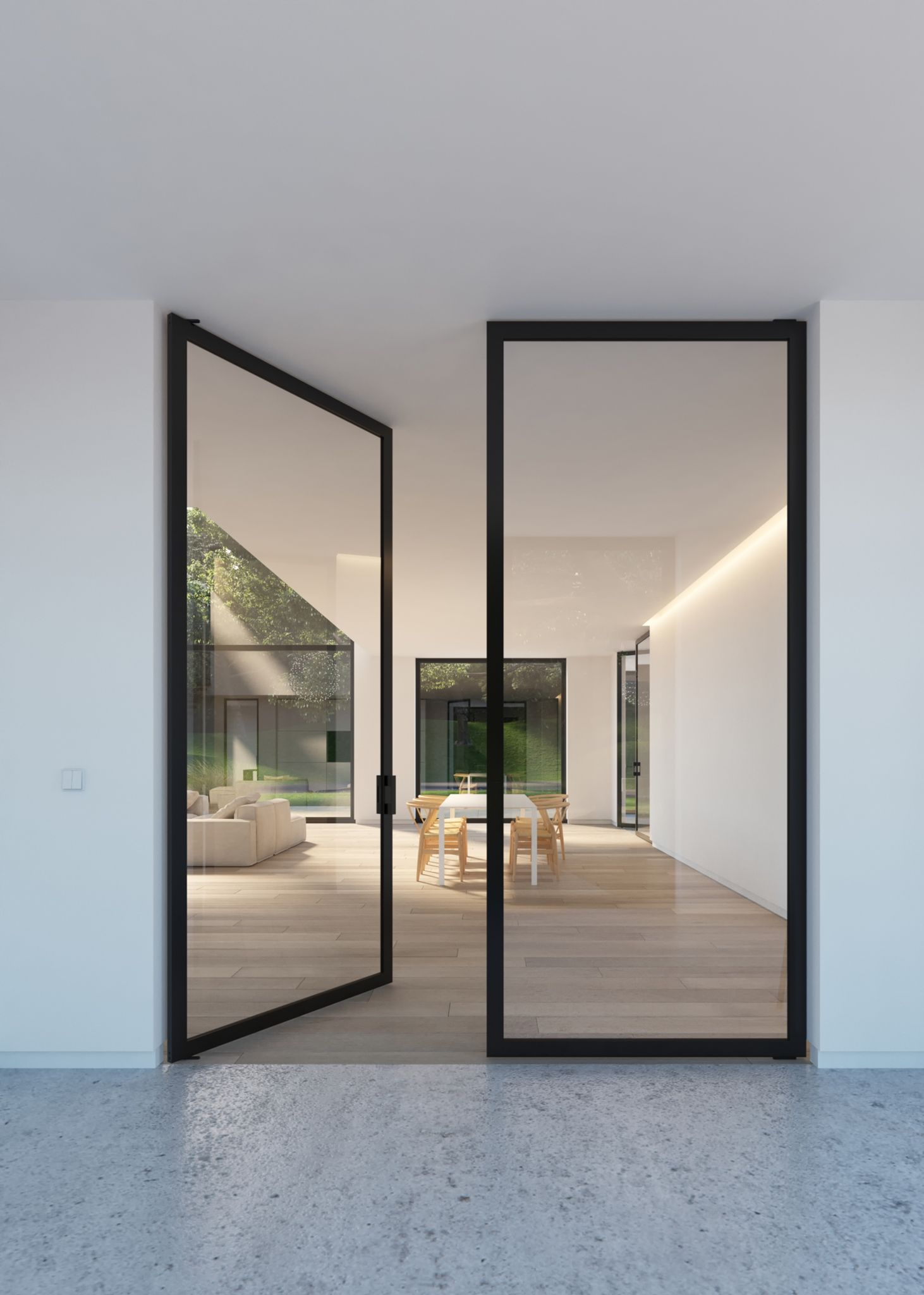 Le Meilleur Double Glass Door With Steel Look Frames Portapivot Ce Mois Ci