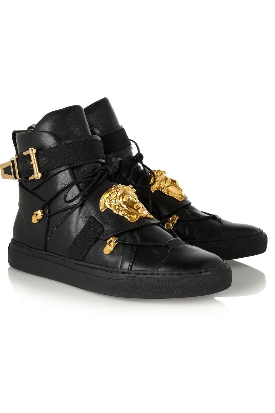 Le Meilleur Versace Embellished Leather High Top Sneakers Net A Ce Mois Ci