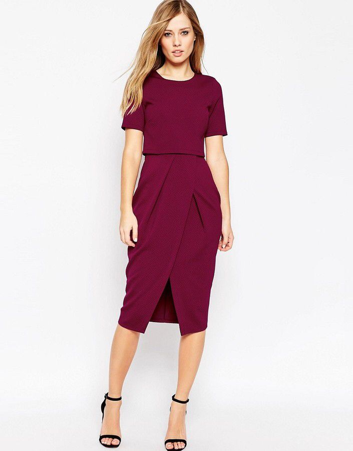 Le Meilleur Asos Collection Asos Double Layer Textured Wiggle Dress Ce Mois Ci