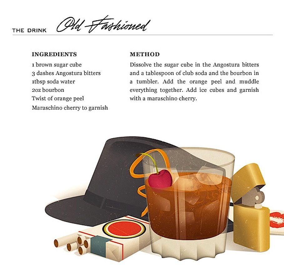 Le Meilleur Old Fashioned Cocktail Don Draper In Mad Men The Nifty Ce Mois Ci