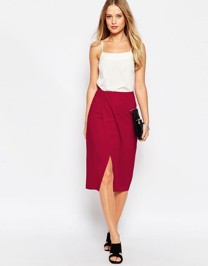 Le Meilleur Image 1 Of Asos Pencil Skirt With Wrap Front Fashion In Ce Mois Ci