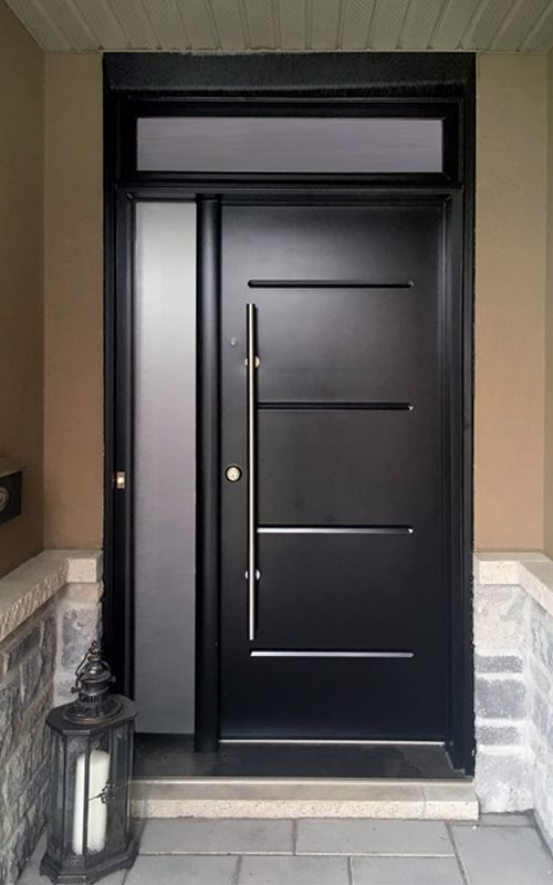 Le Meilleur Gray Door With A Glass Sidelight And Pull Bar Handle Ce Mois Ci