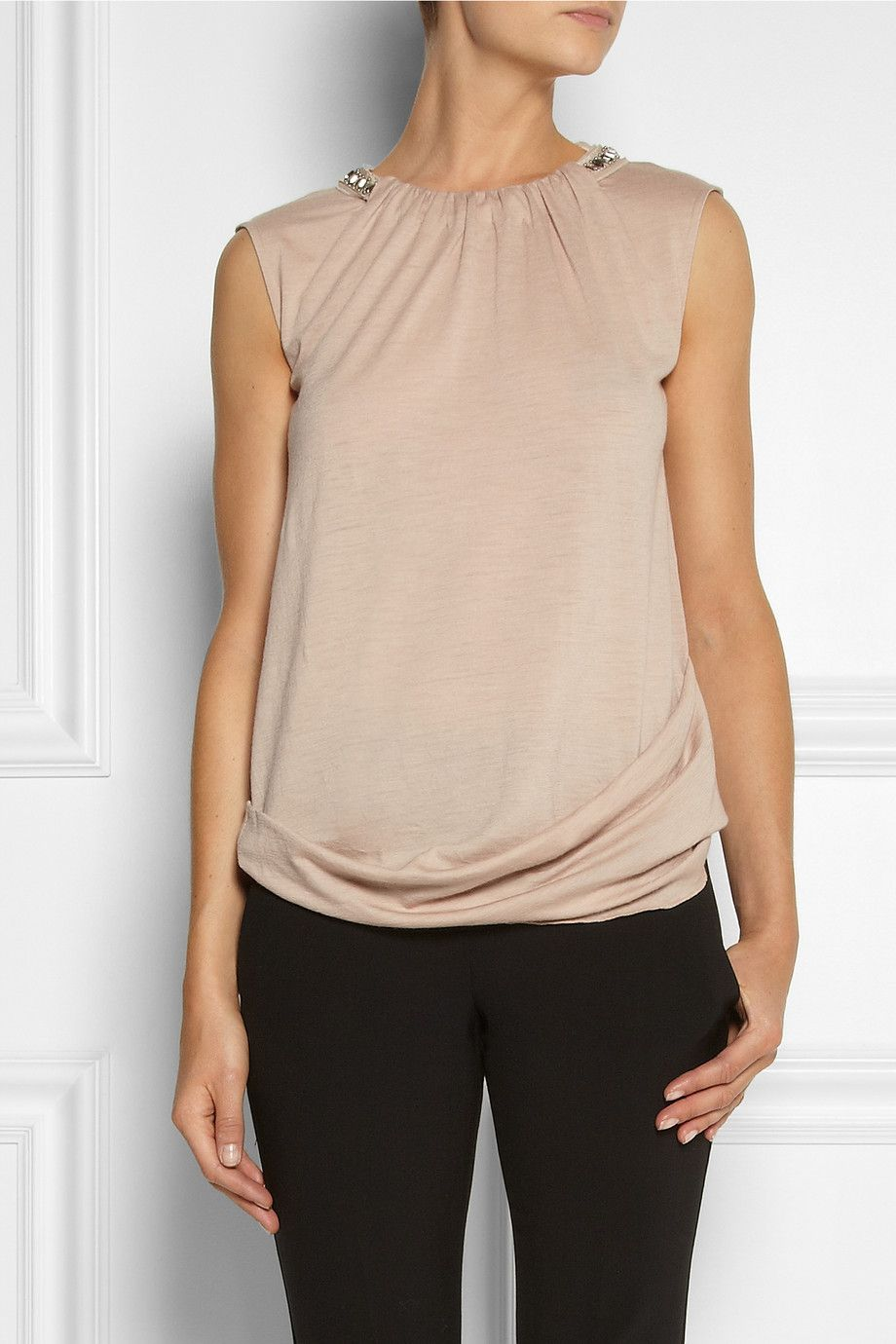 Le Meilleur Vanessa Bruno Embellished Wool Jersey Top Net A Porter Ce Mois Ci