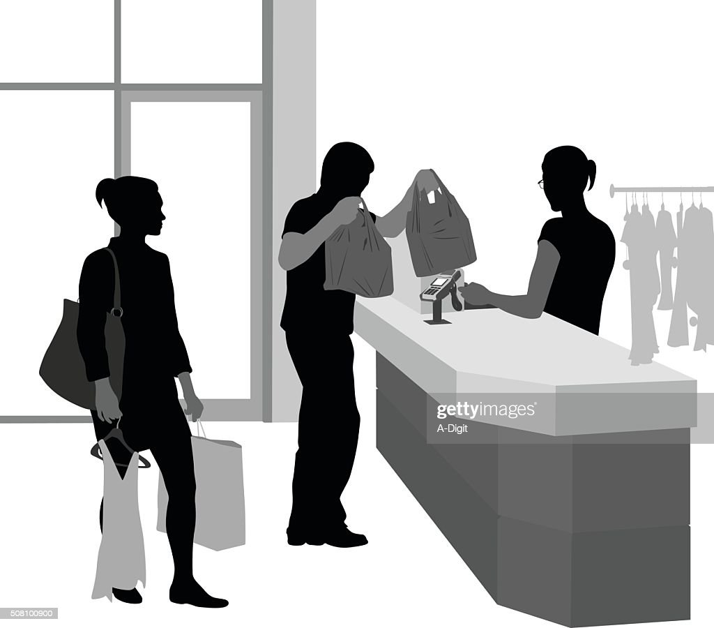 Le Meilleur Customer Waiting To Pay For Clothes Vector Art Getty Images Ce Mois Ci