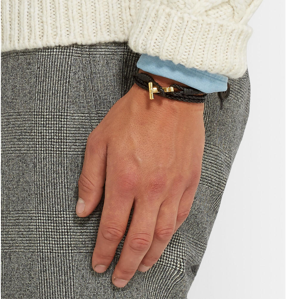 Le Meilleur Tom Ford Braided Leather And From Mr Porter Man Bracelets Ce Mois Ci
