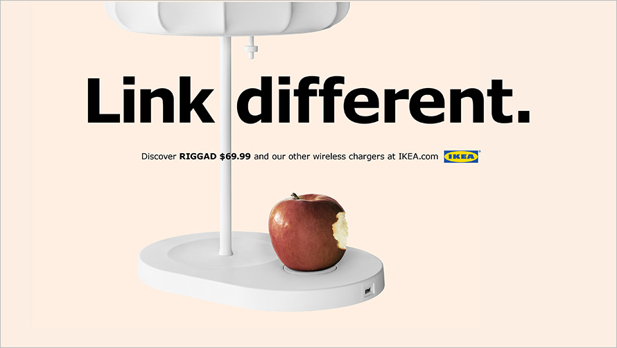 Le Meilleur Ikea Piggybacks On Apple With Playful Ads For Its Wireless Ce Mois Ci