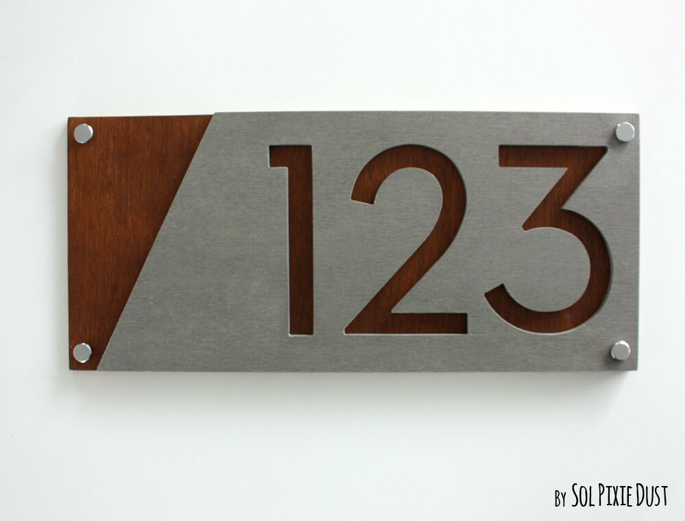 Le Meilleur Modern House Numbers Concrete With Marine Plywood Sign Ce Mois Ci