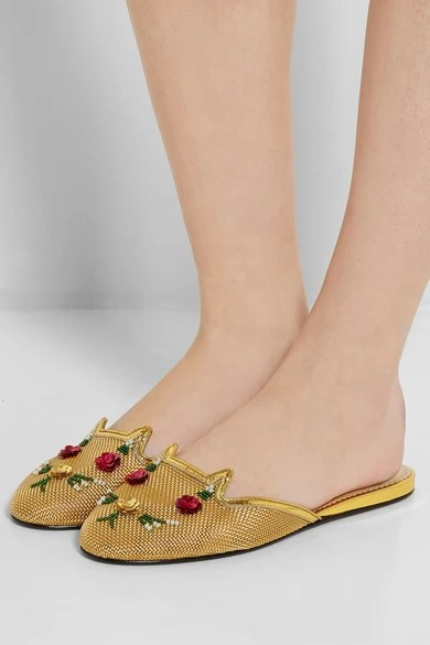 Le Meilleur Charlotte Olympia Kitsch Kitty Embellished Mesh Slippers Ce Mois Ci