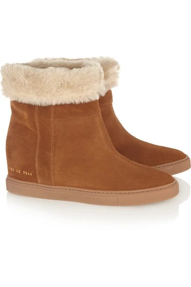 Le Meilleur Common Projects Faux Shearling Lined Suede Wedge Ankle Ce Mois Ci