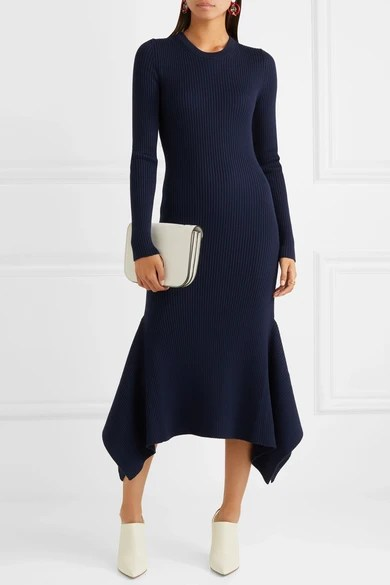 Le Meilleur Victoria Beckham Asymmetric Ribbed Wool Midi Dress Net Ce Mois Ci