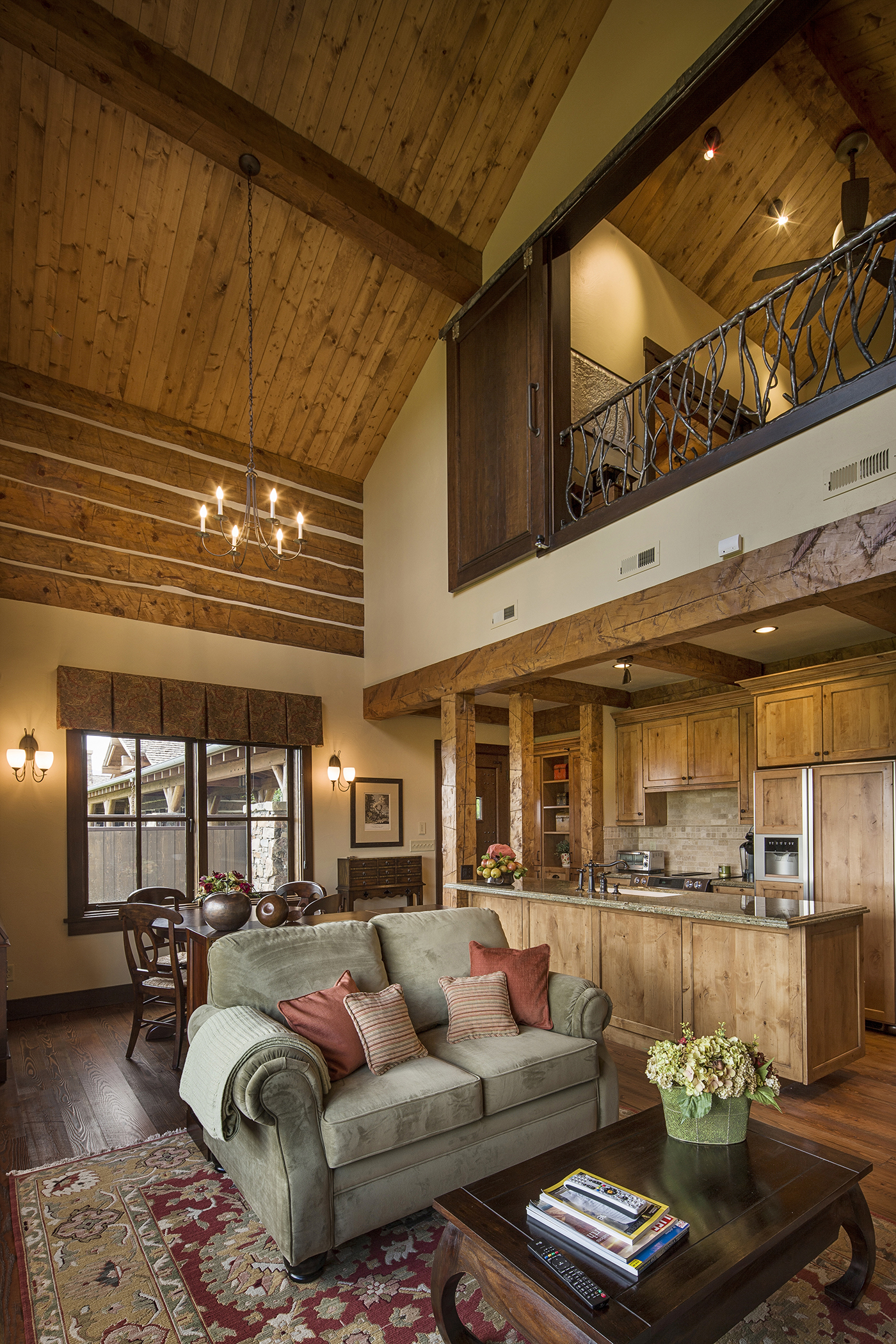 Mountain Timber Frame Guest House Great Room Rocky