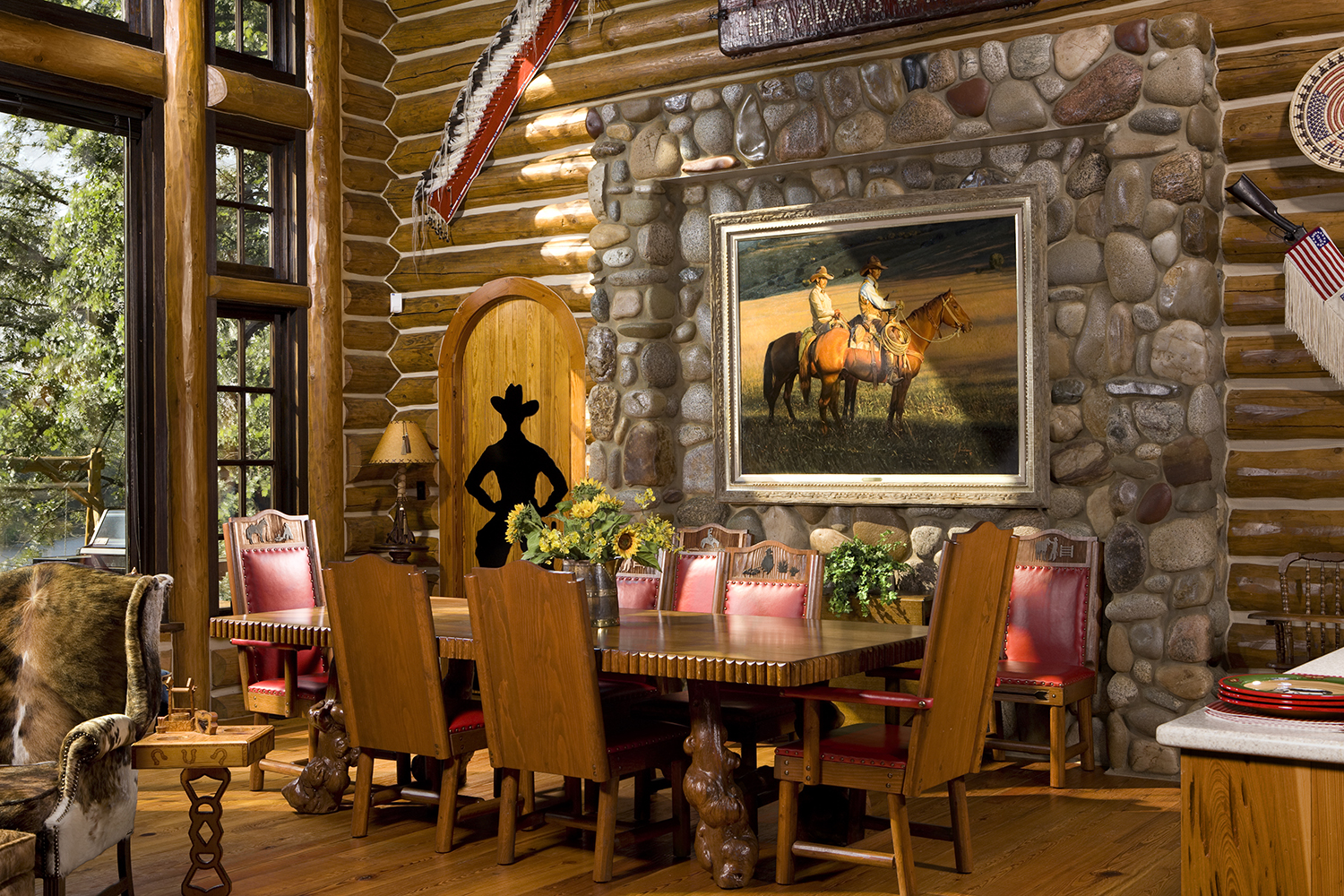 Camp Style Lodge Dining Room Rocky Mountain Homes