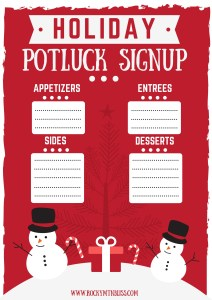 Free Christmas Potluck signup printable