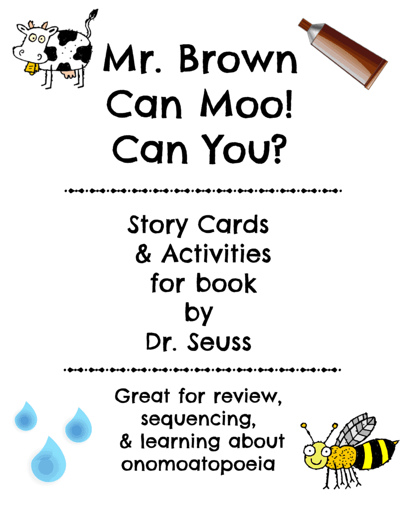 Mr. Brown Can Moo! Can You? Story Cards & Activities