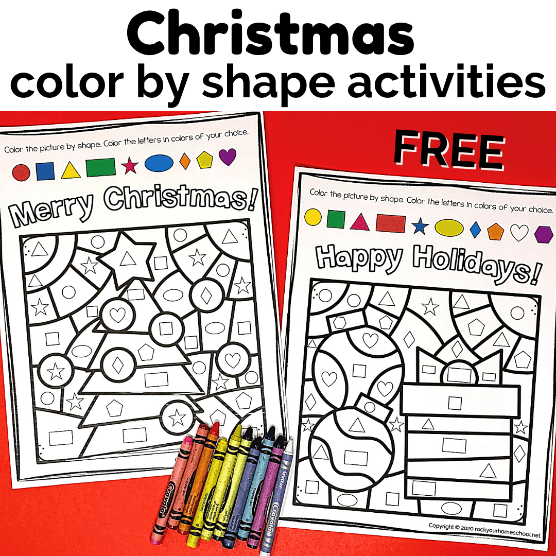 hight resolution of Christmas Color By Shape Activities - Rock Your Homeschool