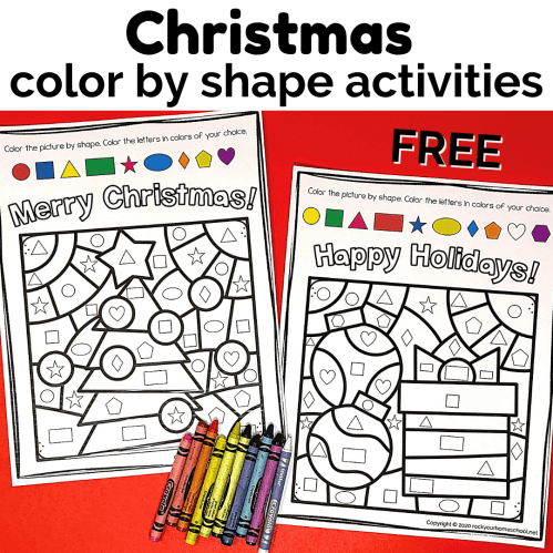 small resolution of Christmas Color By Shape Activities - Rock Your Homeschool