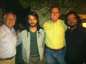 Puerto Peñasco author Guillermo Munro with Diego Luna, Mexican film & theater actor, producer, and director along with Ernesto Munro, State Secretary of Public Safety and producer Pablo Cruz
