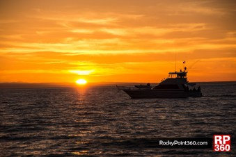 Yacht at Sunset in puerto penasco sonora