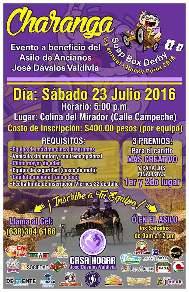 poster-charanga Soap Box Derby fundraiser for Casa Hogar  July 23!