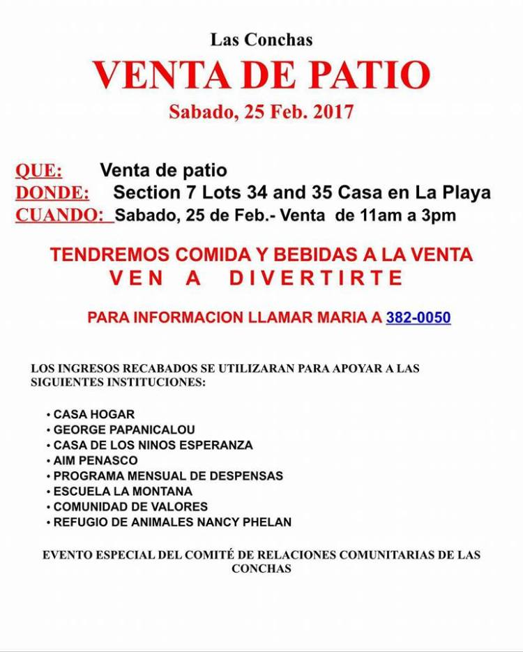 LAS-CONCHAS-PATIO-SALE Las Conchas Yard Sale  Feb. 25th