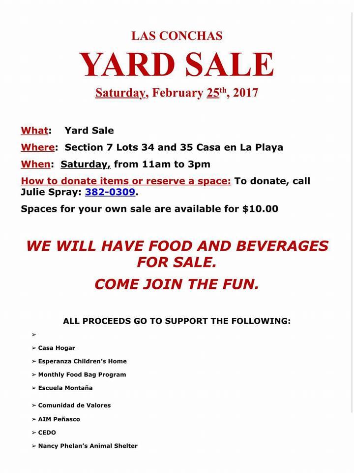 LAS-CONCHAS-YARDSALE Las Conchas Yard Sale  Feb. 25th