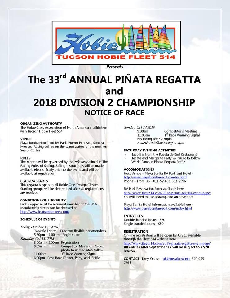 hobiecat-oct 33rd Annual Piñata Regatta Hobie Cats  Oct 12-14