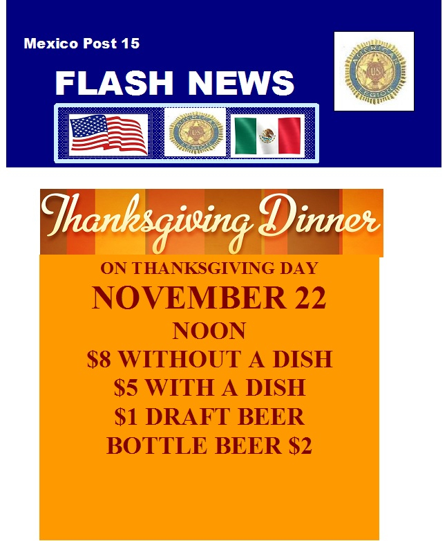 Thanksgiving Dinner / American Legion @ American Legion