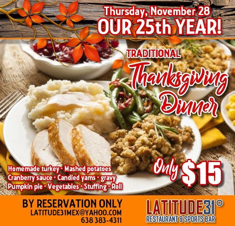 Latitude-31-Thanksgiving-19 Thanksgiving traditional turkey dinner at Latitude 31