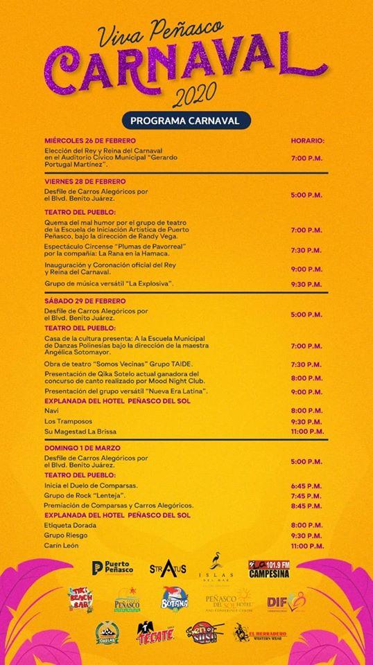 programa Viva Peñasco 2020 Carnaval Calendar