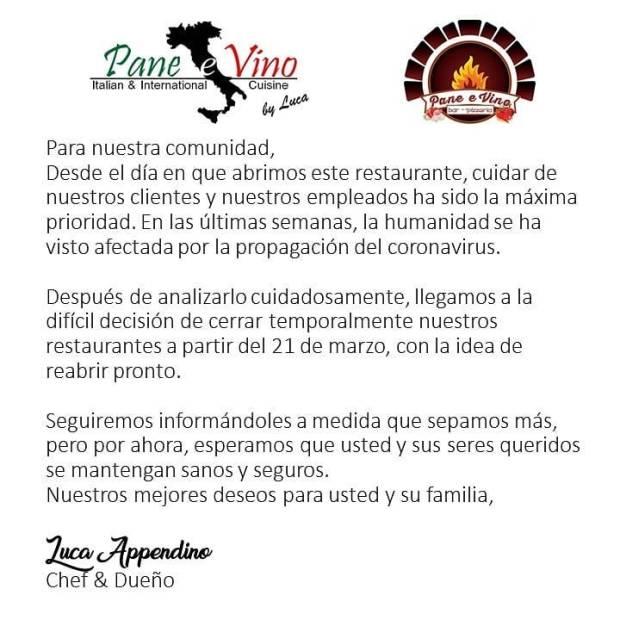 pane-e-vino-cerrado-pizzeria #ConsumeLocal #supportlocalbusiness