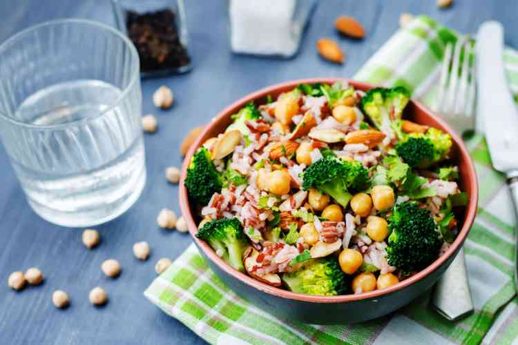 broccoli chickpea cilantro almond white and red rice