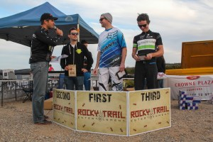 Elite Male Podium (l-r): Martin Wisata (Rocky Trail), Jon Odams (2), Ben Cory (1), Aiden Lefmann (3). Photo: Jaime Black
