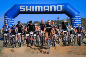 Race Director Martin Wisata leading out riders at Stromlo for their race start. Photo: OuterImage.com.au