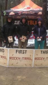 Photo: Tammy Weinert - Elite Female podium at Awaba (l-r): Sarah Booth (2nd), Michelle Crisp (1st), Kellie Weinert (3rd).