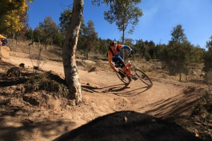 Sebastien Deubel on his favourite Aussie race track at Stromlo Forest Park, one of the venues for the Australian Gravity Enduro Series in 2014, hosted by Rocky Trail. Photo: Deubel Bicycles