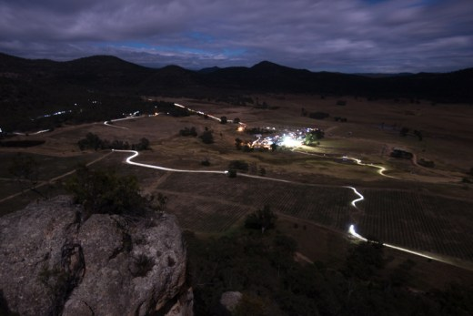 The JetBlack 12 Hour by night - view from the Ridge Walk summit high above James Estate.