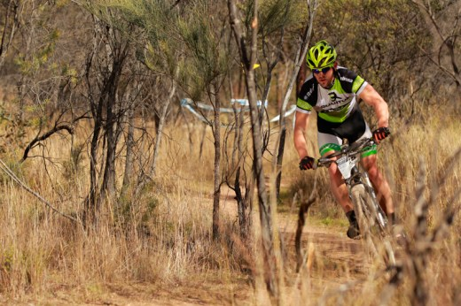 Michal Kafka, third elite solo finisher in the singletrack maize at James Estate.