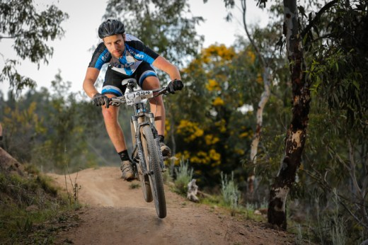 Ed McDonald wins the 7-hour endurance men's elite race at Stromlo Forest Park.