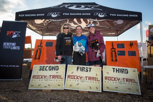 Elite women's podium at Rd5 of the Ride FOX- Australia Rollercoaster #Enduro NSW/ACT State Series, hydrated by CamelBak - Vanessa Thompson (4th), Kellie Weinert (2nd), Cara Paton (1st - not in picture), Bec Wyatt (3rd), Joanne Fox (5th - not in picture).