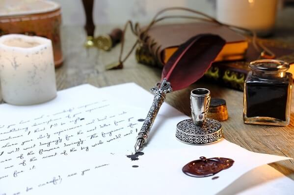万年筆と手紙