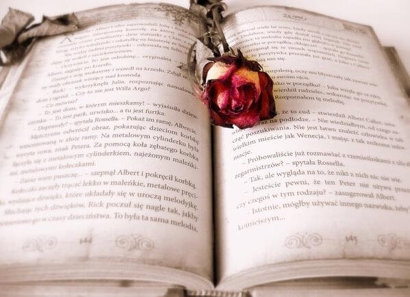 バラがおいてある本