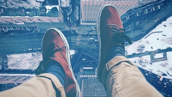 上から地上を見ているところ
