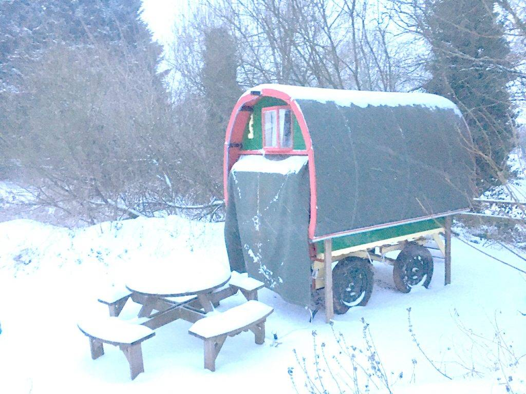 glamping devon in the snow. gypsy caravan. Devon