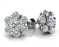 Flower Shaped Diamond Cluster Stud Earrings