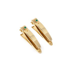 Earring Beat Gold Emerald Front