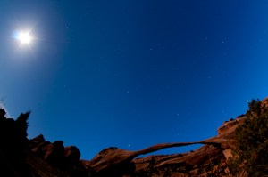 Landscape Arch Under Stars and Moonlight, Arches National Park, Utah - Roddy Scheer Photography