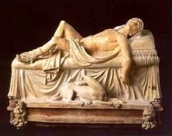 Etruskisch museum 04 (grafmonument van destervende Adonis)