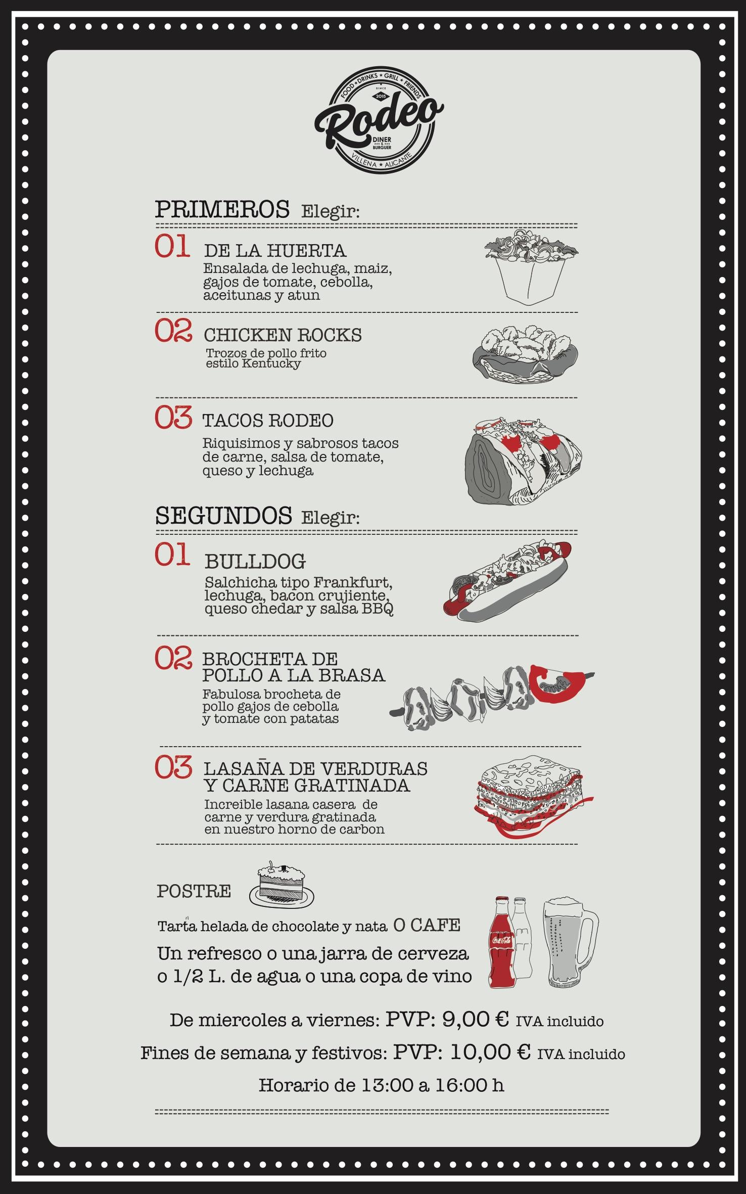menu del dia - Rodeo Diner Villena